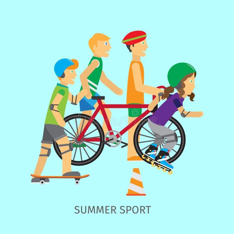 夏天体育 活跃生活方式概念性横幅 皇族释放例证