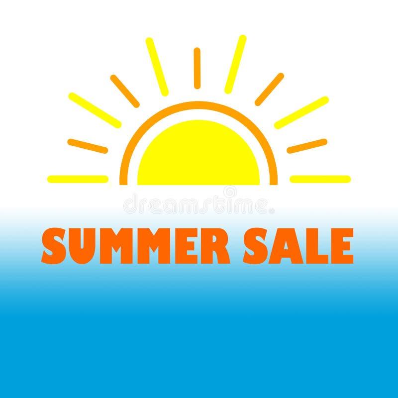 夏天促进的销售横幅在白色蓝色背景 向量例证