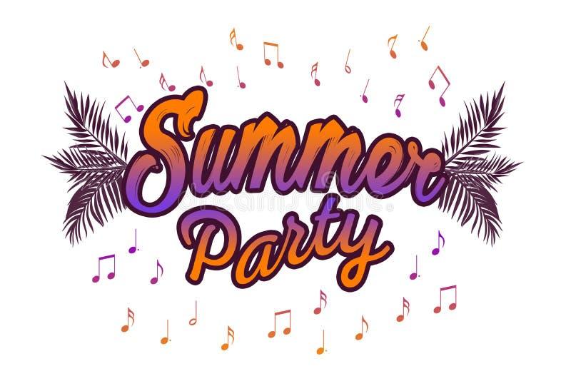 夏天党例证 夏天海报词组 夏天艺术图象 手写的横幅、时尚商标或者标签 五颜六色手拉 库存例证
