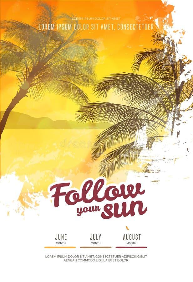 夏天党海报或飞行物与棕榈树剪影的设计模板 现代样式 向量例证