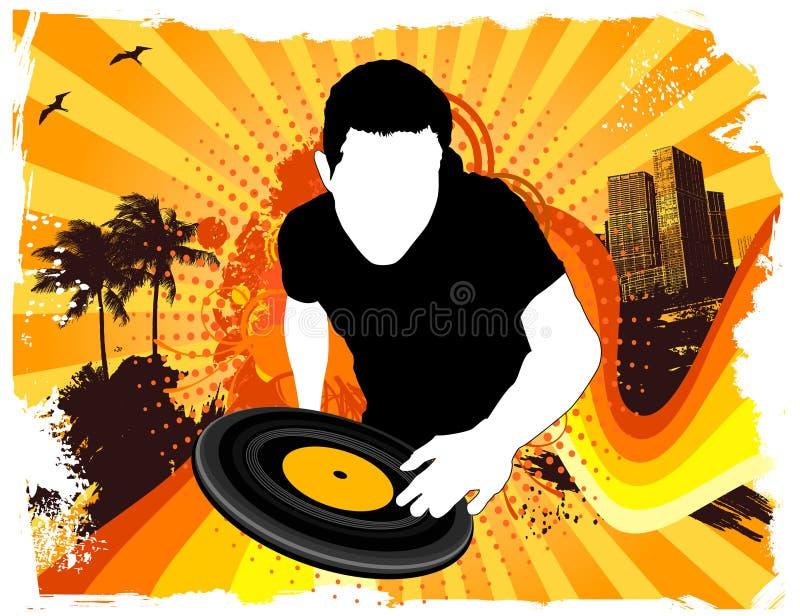 夏天党DJ 向量例证