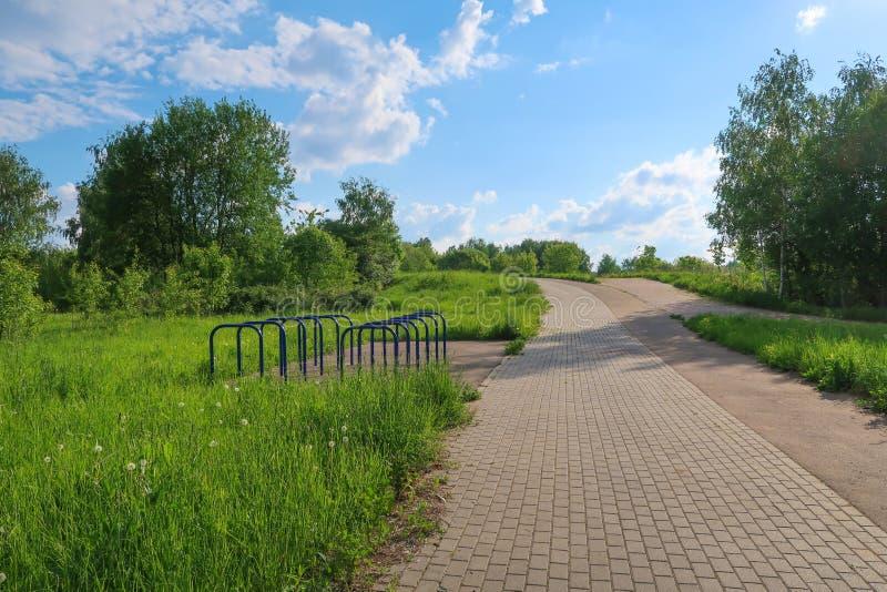 夏天公园胡同和连续轨道草,云彩树美丽如画的视图 库存照片