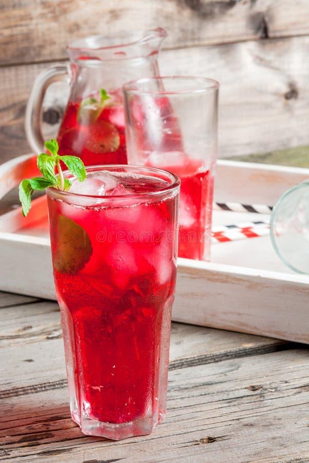 夏天冰了红色饮料-茶或汁液 免版税库存图片