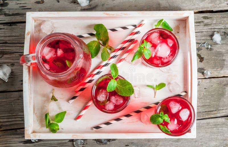 夏天冰了红色饮料-茶或汁液 库存图片