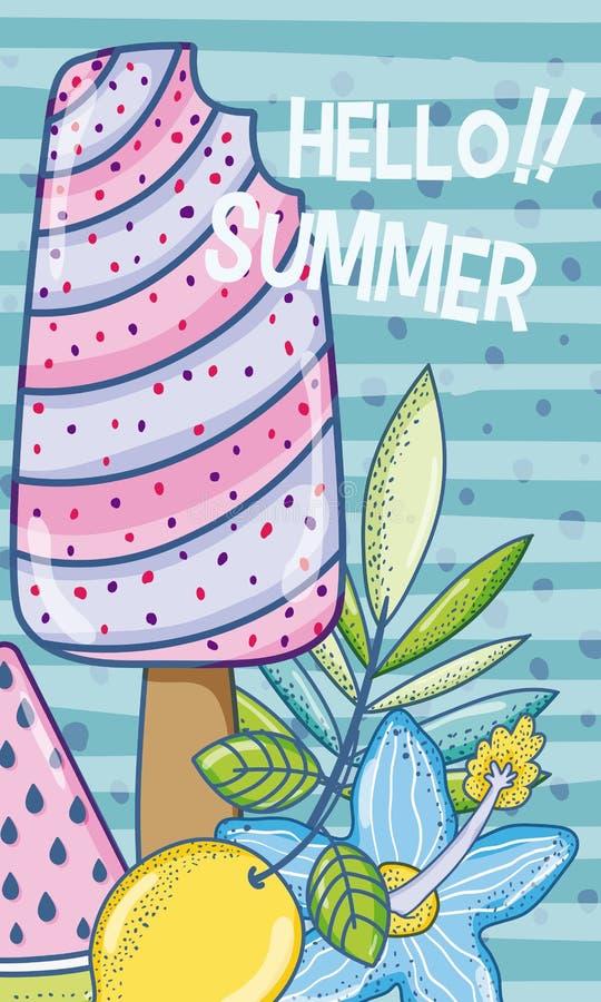 夏天冰棍儿动画片 免版税库存图片