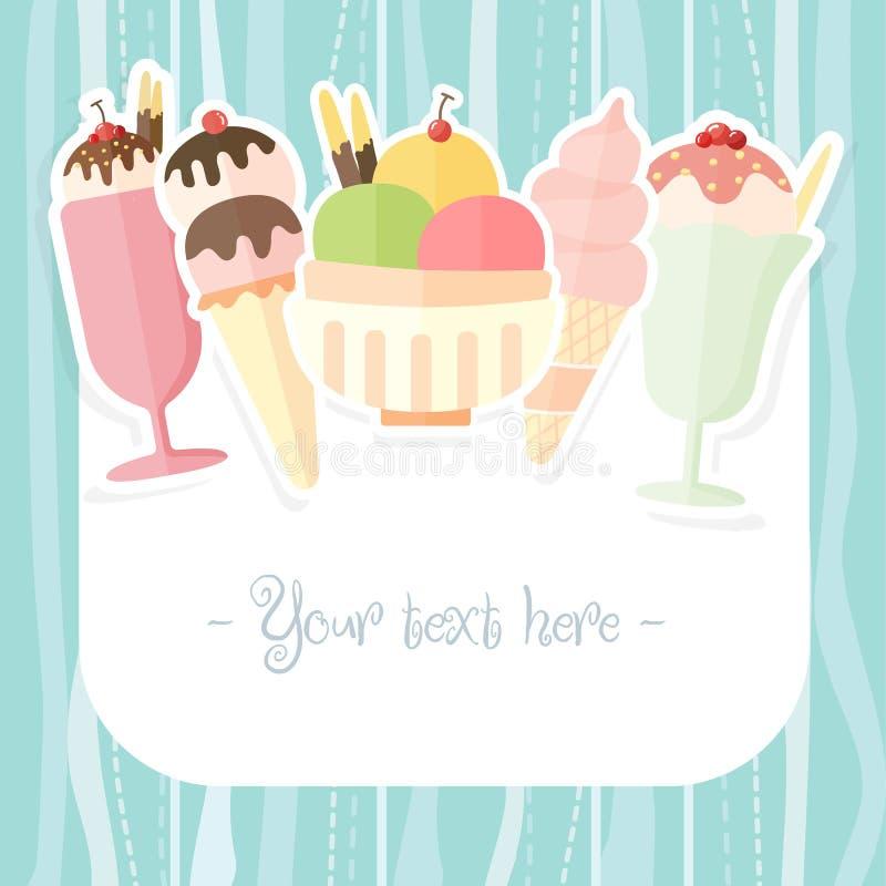 夏天冰淇凌背景 皇族释放例证