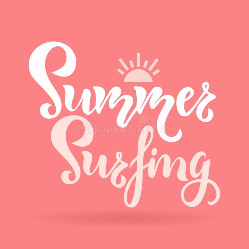 夏天冲浪的季节题字,在文本上写字 贺卡,海报,飞行物的印刷术行情 ?? 皇族释放例证