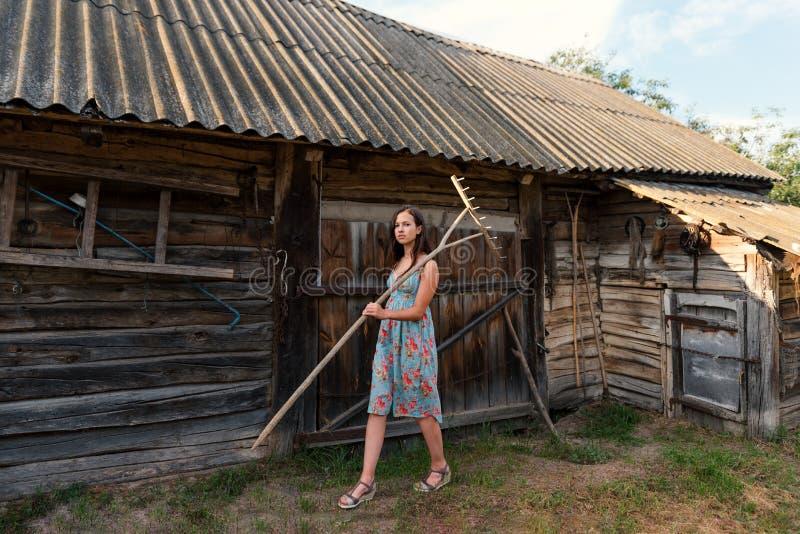 夏天减速火箭的sarafan礼服的一个少妇在沿棚子和老农村大厦的围场四处走动与在shoul的犁耙 免版税库存图片