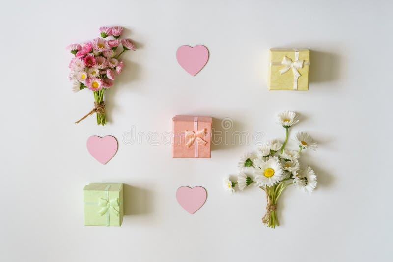夏天创造性的构成 两白色和桃红色延命菊雏菊 免版税库存照片