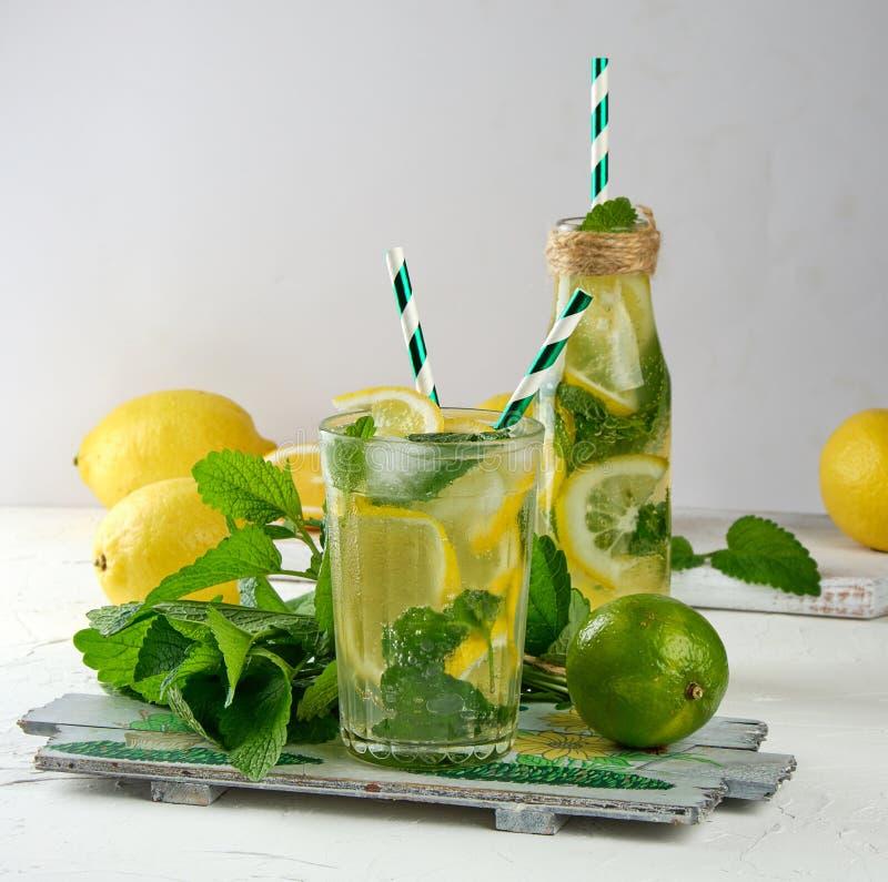 夏天刷新的饮料柠檬水用柠檬,薄荷叶,在玻璃的石灰 免版税库存照片