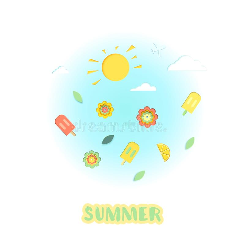 夏天剪贴美术集合卡片 也corel凹道例证向量 皇族释放例证