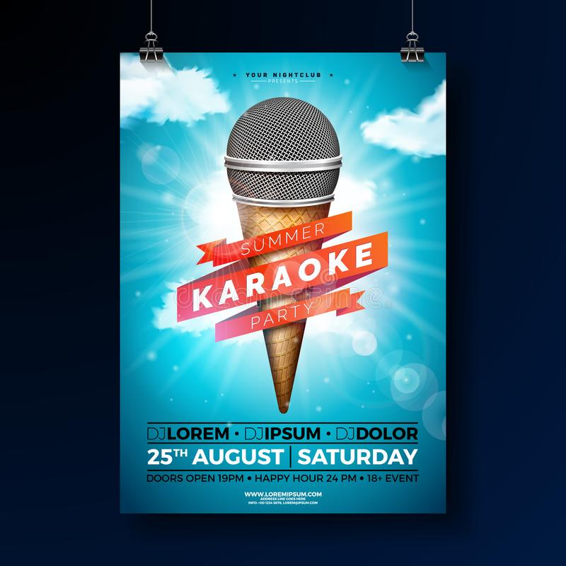 夏天卡拉OK演唱党与话筒和丝带的飞行物设计在蓝色多云天空背景 传染媒介夏天设计 向量例证