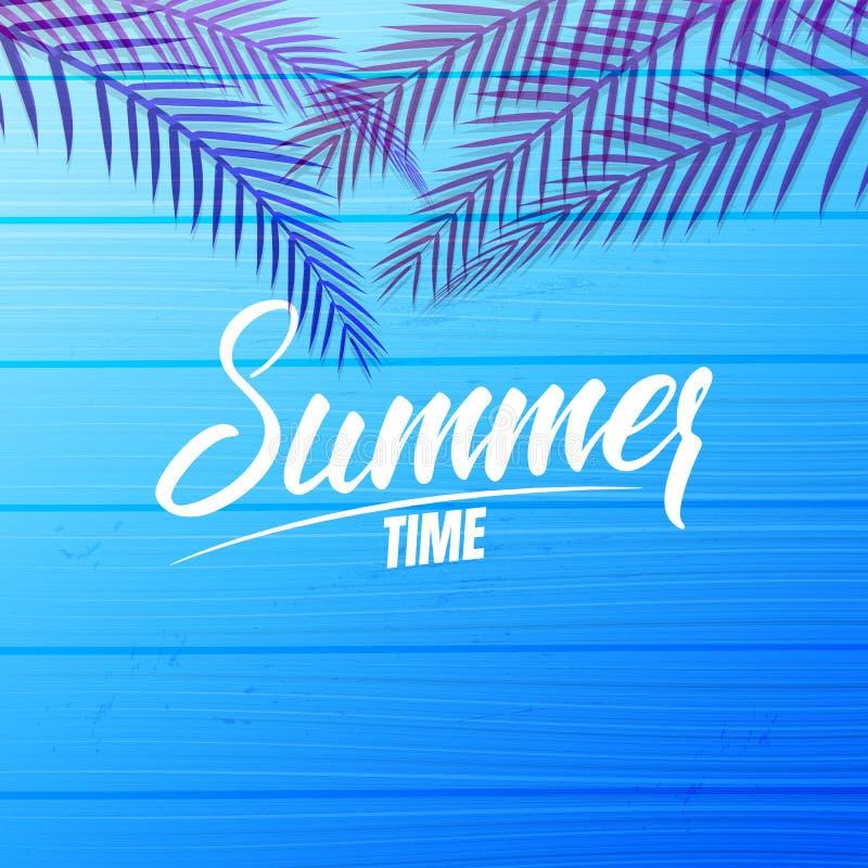 夏天卡片设计布局 与夏天书法、棕榈叶和蓝色木背景的横幅 皇族释放例证