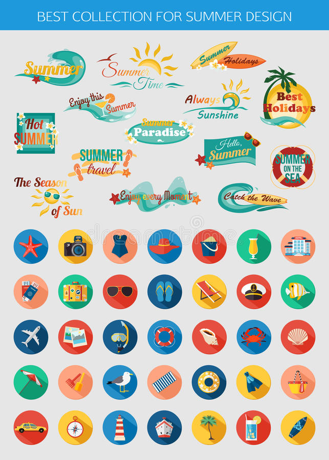 夏天印刷元素的大收藏为设计和五颜六色的暑假,海滩,海边海军陆战队员象 向量例证