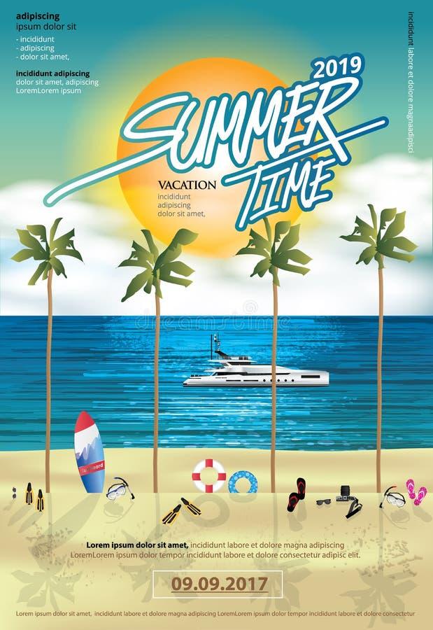 夏天和休假旅行海报设计模板 皇族释放例证
