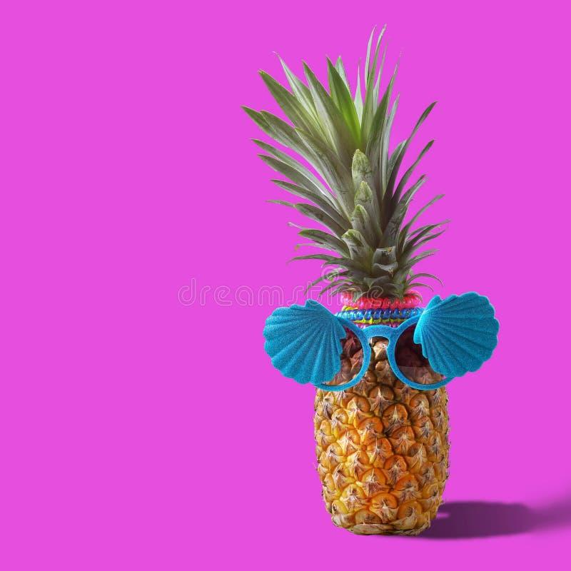夏天和假日概念 行家菠萝时装配件 图库摄影