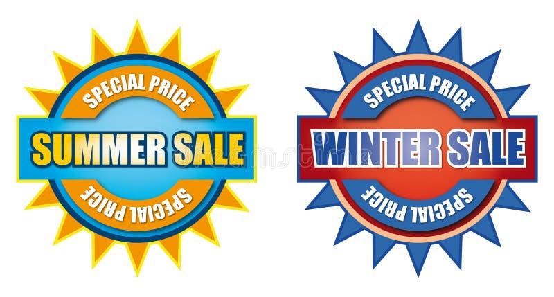 夏天和冬天销售标志 向量例证