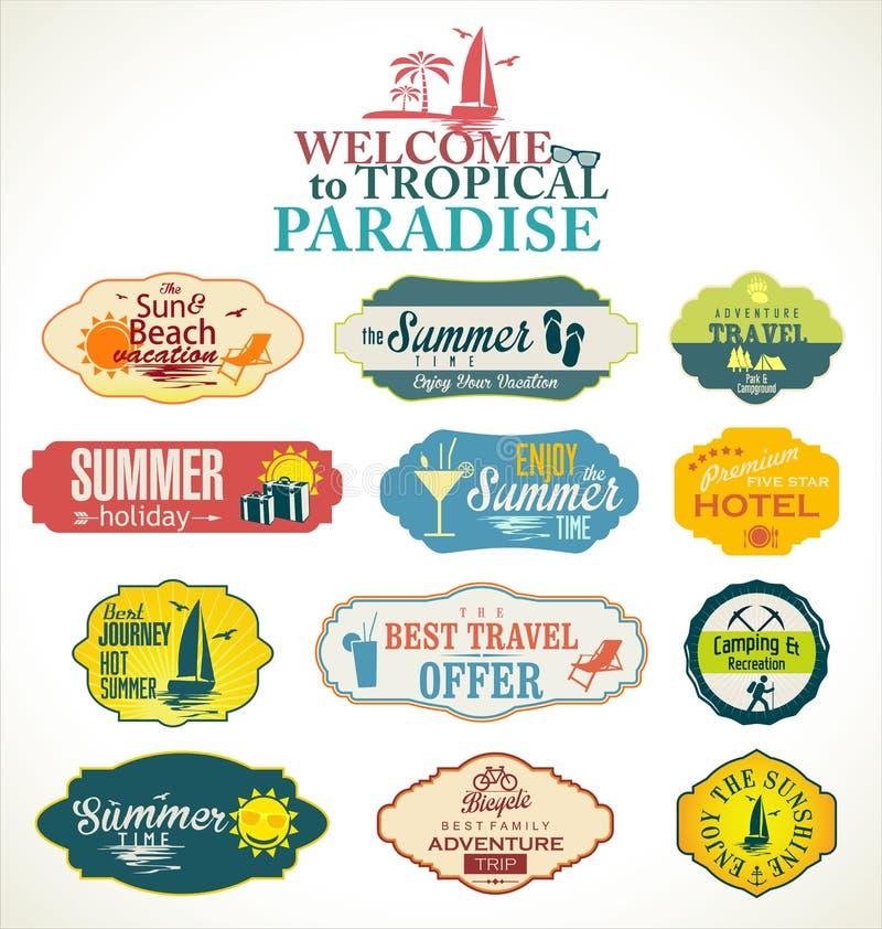 夏天和旅行标签 向量例证