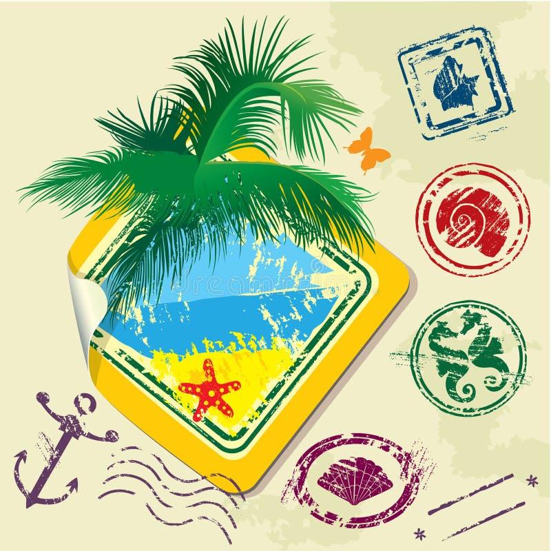 夏天和旅行邮票和贴纸 皇族释放例证