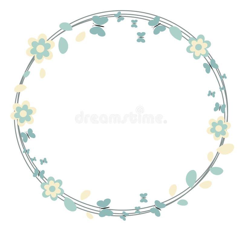 夏天和春天框架背景缠绕与叶子花和蝴蝶季节性问候的,装饰,生日 皇族释放例证