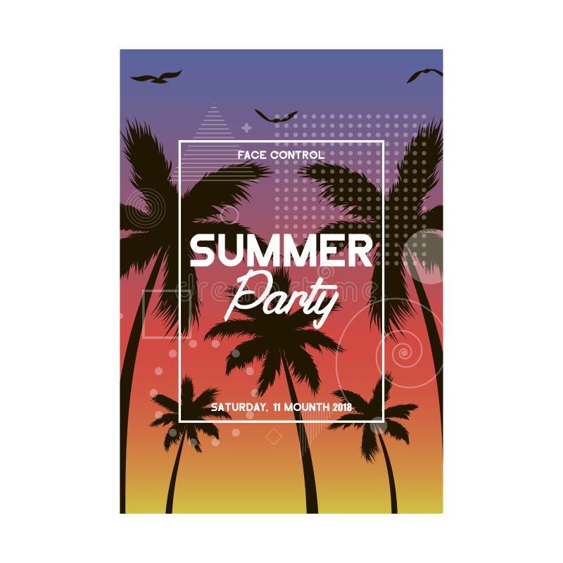 夏天和海滩党海报设计 邀请与热带棕榈树的飞行物模板 现代的横幅 向量 皇族释放例证