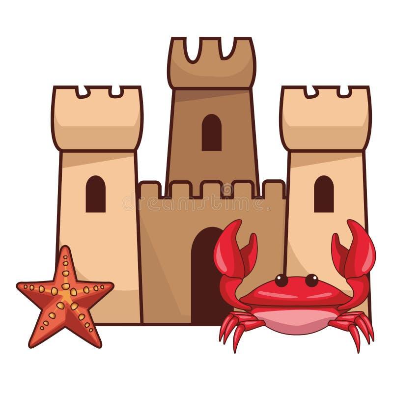 夏天和海滩动画片 皇族释放例证