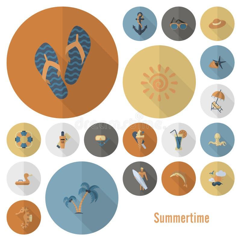 Download 夏天和海滩简单的平的象 向量例证. 插画 包括有 夏天, 盖帽, 符号, 鸭脚板, 铁锹, 晒斑, 要素 - 59107956