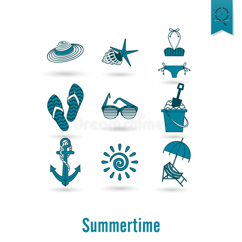 Download 夏天和海滩简单的平的象 向量例证. 插画 包括有 海星, 铁锹, 设计, 要素, 古代人, 舡鱼, 海洋 - 59108065