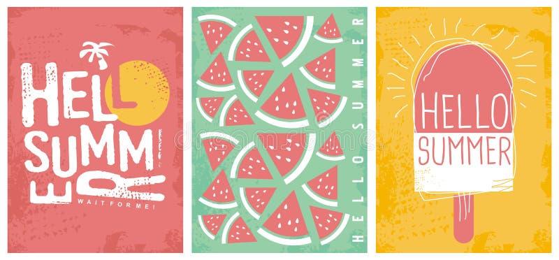 夏天喜悦创造性的艺术性的横幅和海报模板 库存例证