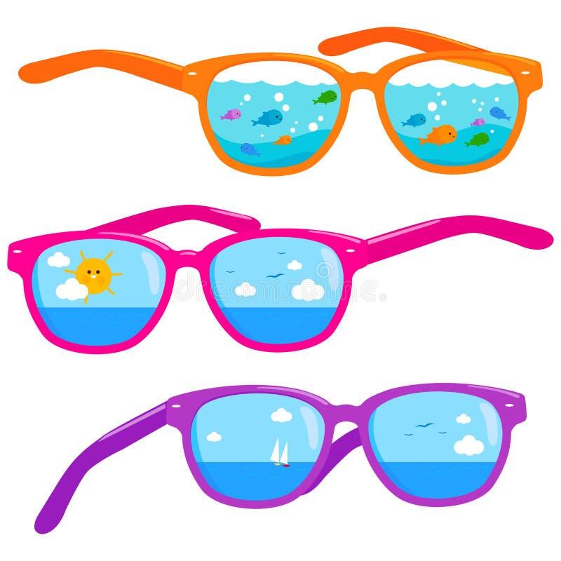 夏天在五颜六色的太阳镜反映的海滩场面 向量例证