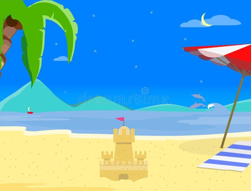 夏天在夜间的海滩背景,沙子城堡 库存例证