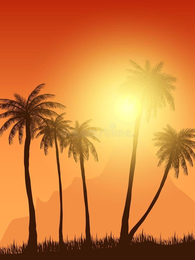 夏天在日落场面的棕榈树 也corel凹道例证向量 10 eps 库存例证