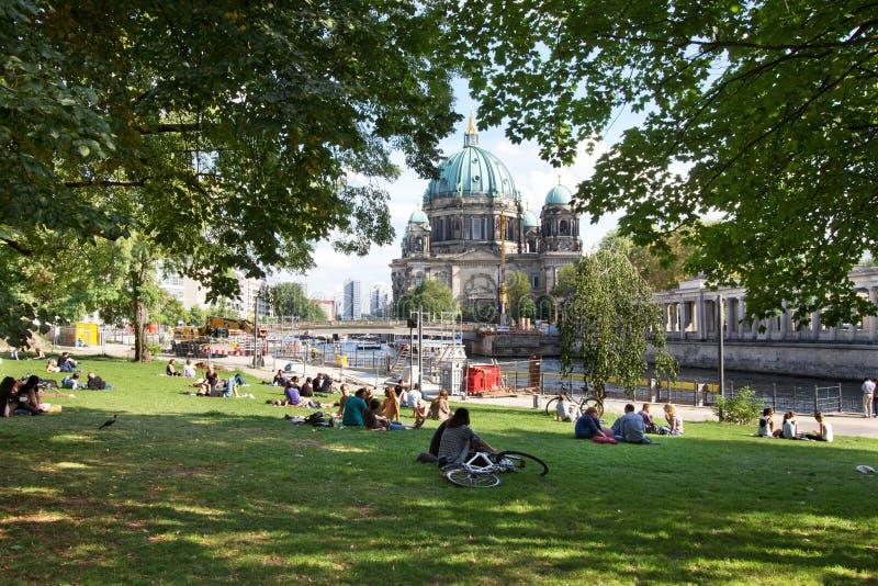 夏天在柏林,享用在公园的人们 免版税库存图片