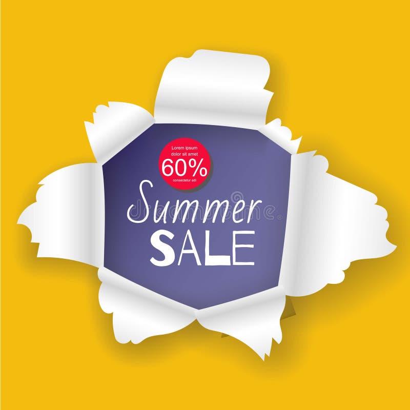 夏天在现实被撕毁的纸孔传染媒介例证设计的销售横幅 黄色背景和蓝色详细 向量例证
