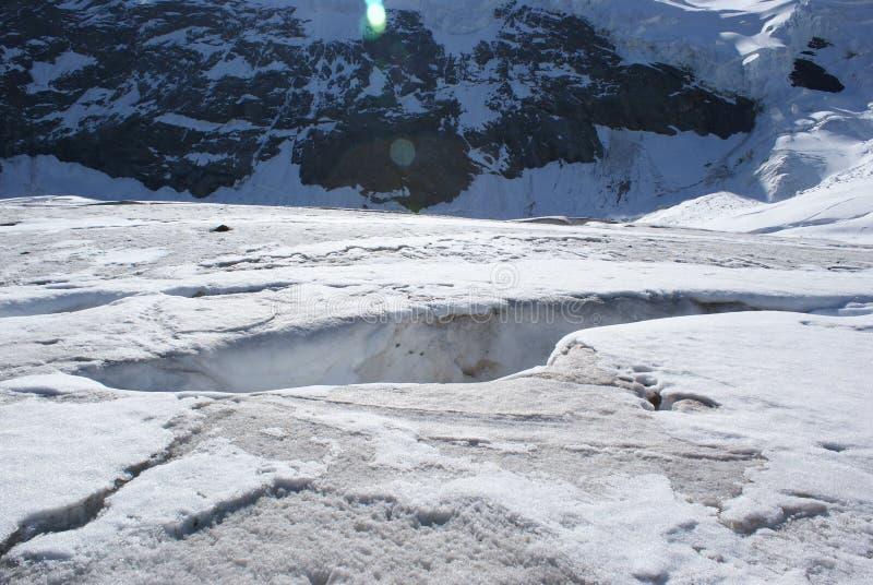 夏天在瑞士阿尔卑斯-杜富尔峰,铸工, Polux,马塔角-高山冰川 免版税库存照片