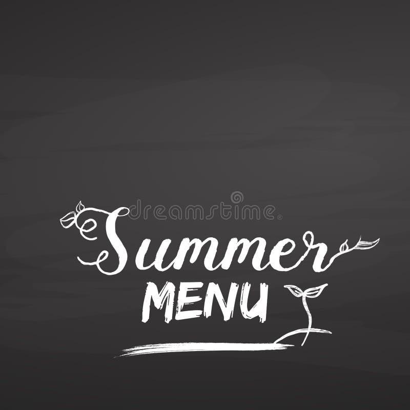 夏天在黑板的菜单字法 库存例证