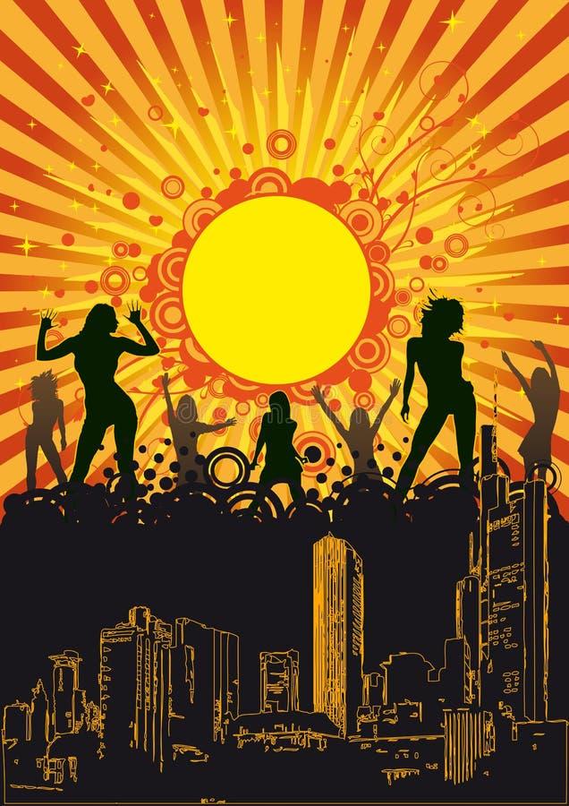 夏天城市党桔子太阳 向量例证
