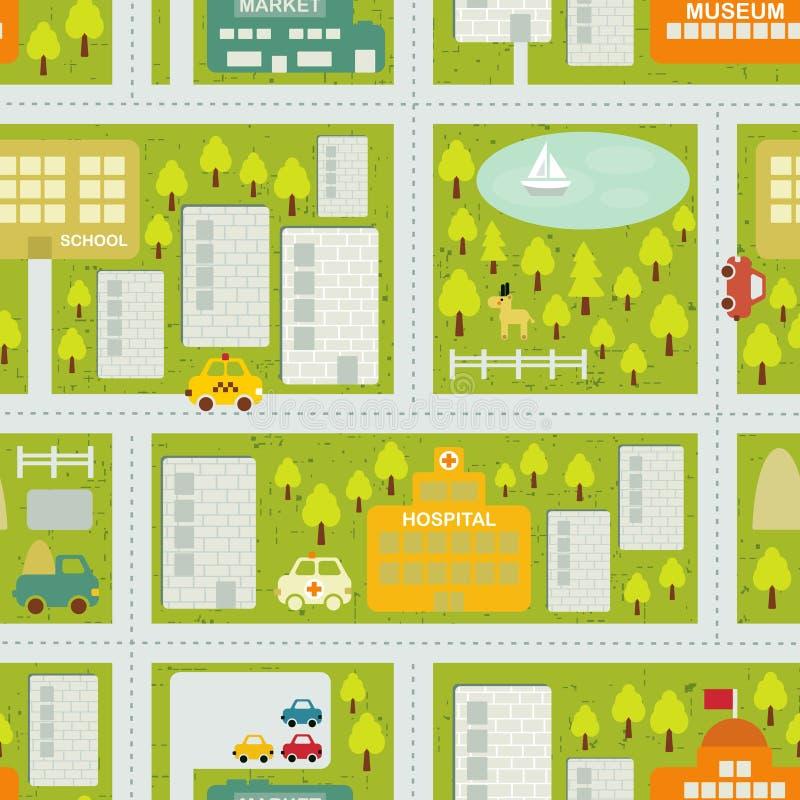 夏天城市的动画片地图无缝的样式。 向量例证