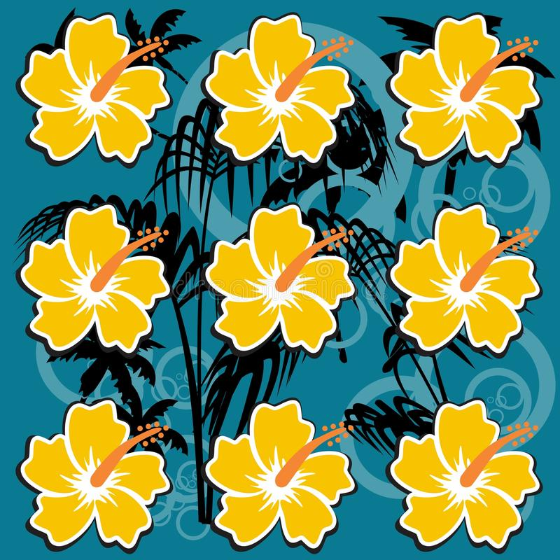 夏天夏威夷木槿样式背景 皇族释放例证