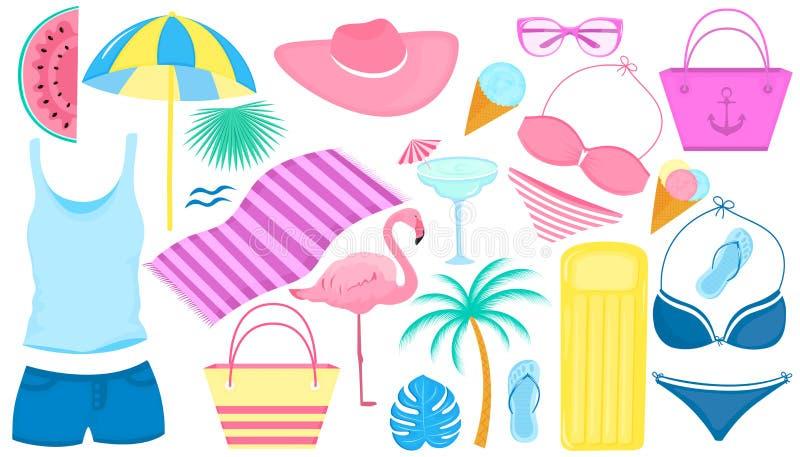 夏天套装饰项目一个海滩假日 泳装,火鸟,棕榈树,切片西瓜,玻璃,冰淇淋, 皇族释放例证