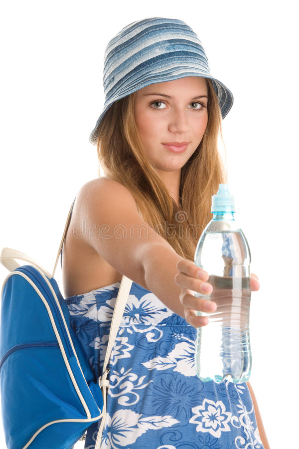 夏天妇女用有水的 免版税库存照片