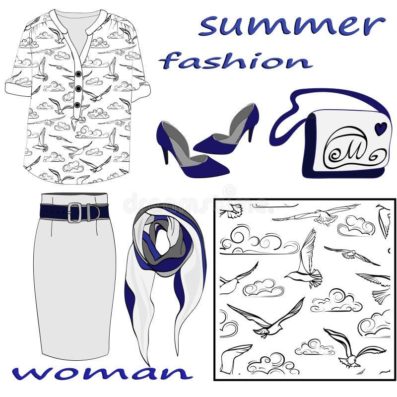 夏天妇女的在白色背景和无缝的样式隔绝的时尚集合 皇族释放例证