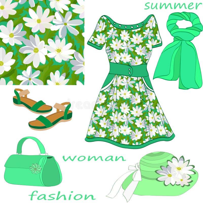 夏天妇女的在薄荷的颜色被隔绝的和无缝的花卉样式的时尚集合 向量例证