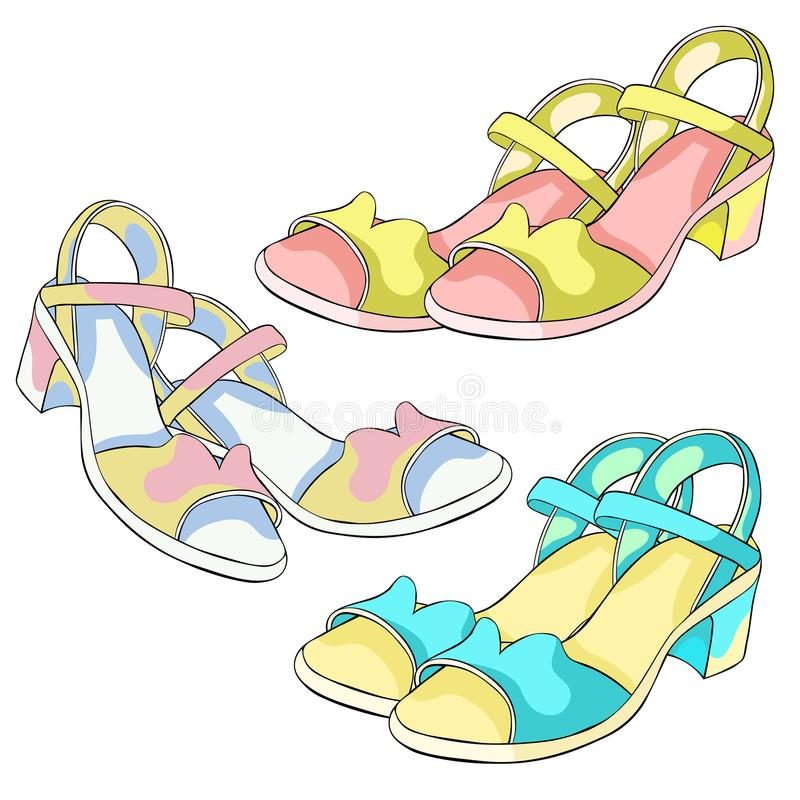 夏天妇女` s凉鞋的鞋子 也corel凹道例证向量 皇族释放例证