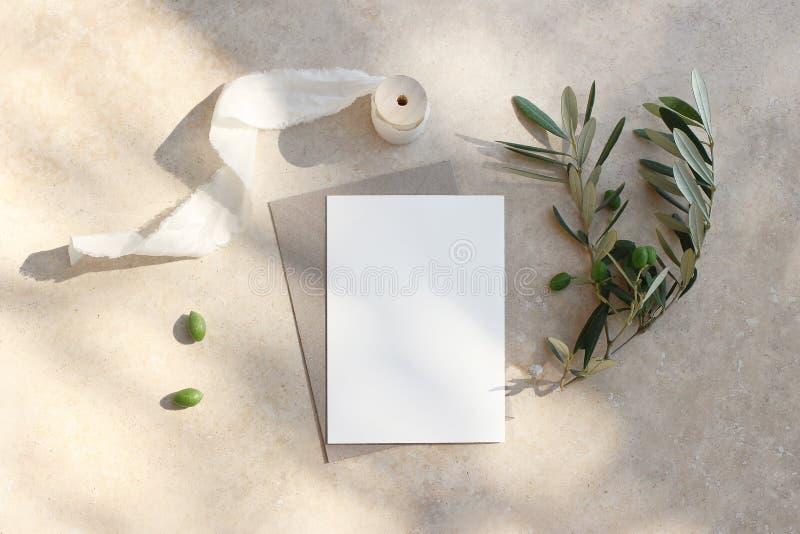 夏天婚礼文具大模型场面 空白的贺卡,邀请 工艺信封、橄榄色的果子、分支和丝绸 库存照片