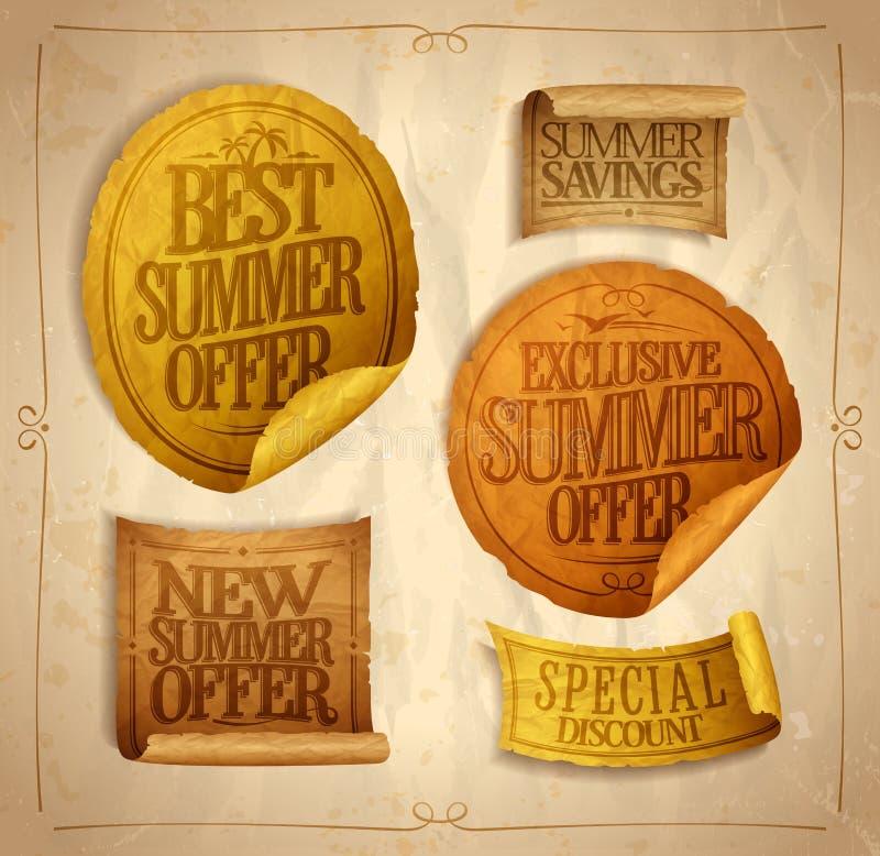 夏天季节性销售贴纸和丝带被设置的,最佳,专属和新的夏天提议,特别折扣 皇族释放例证