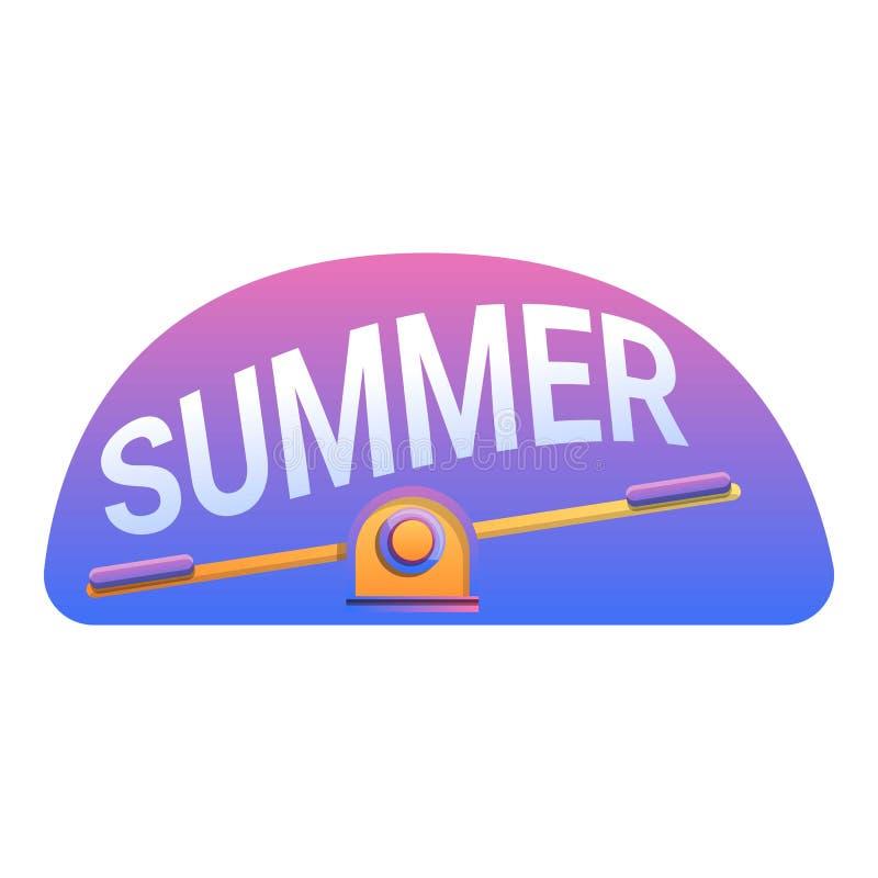 夏天孩子跷跷板酒吧商标,动画片样式 皇族释放例证