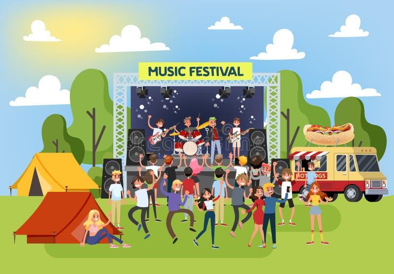 夏天室外的音乐节 人舞蹈人群  向量例证