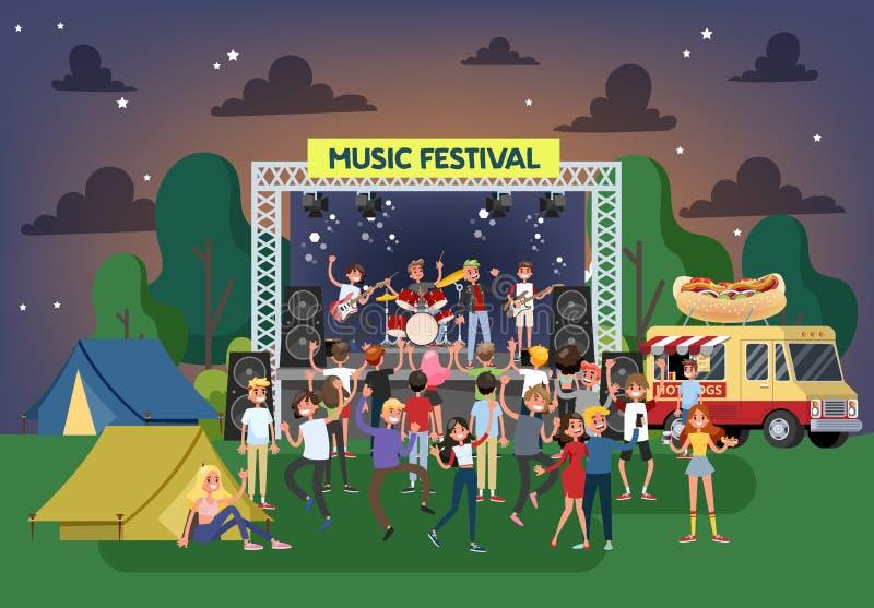 夏天室外的音乐节 人舞蹈人群  库存例证