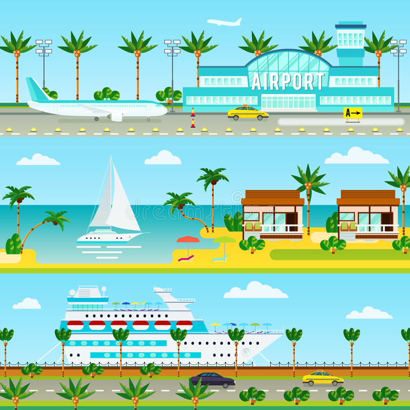 夏天巡航假期横幅 库存例证